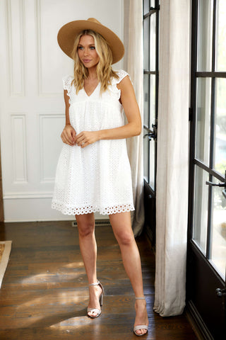 Baker Eyelet Mini Dress
