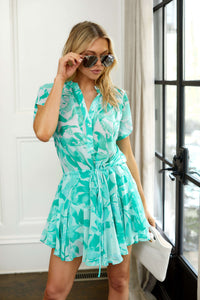 Monroe Palm Print Mini Dress
