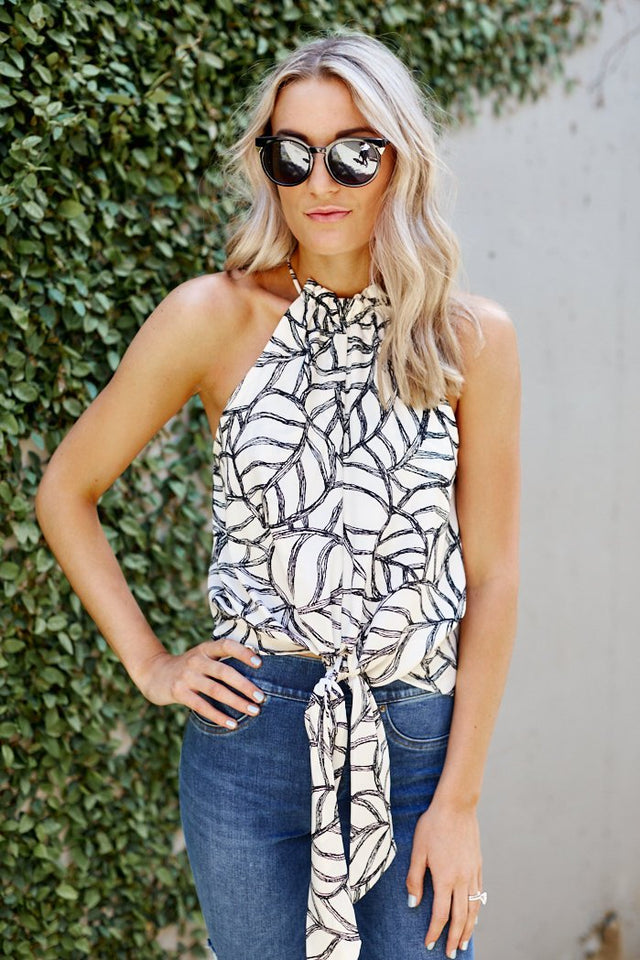 Natalia Printed Tie Front Blouse