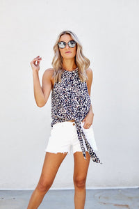 Jazzlyn Cheetah Printed Tie Front Blouse
