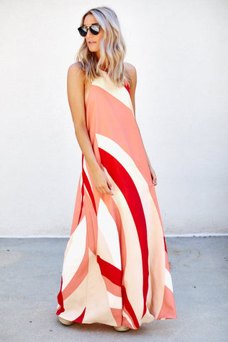 Karly Color Block Maxi Dress