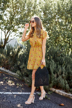 Load image into Gallery viewer, Honey Floral Tie Neck Ruffle Dress