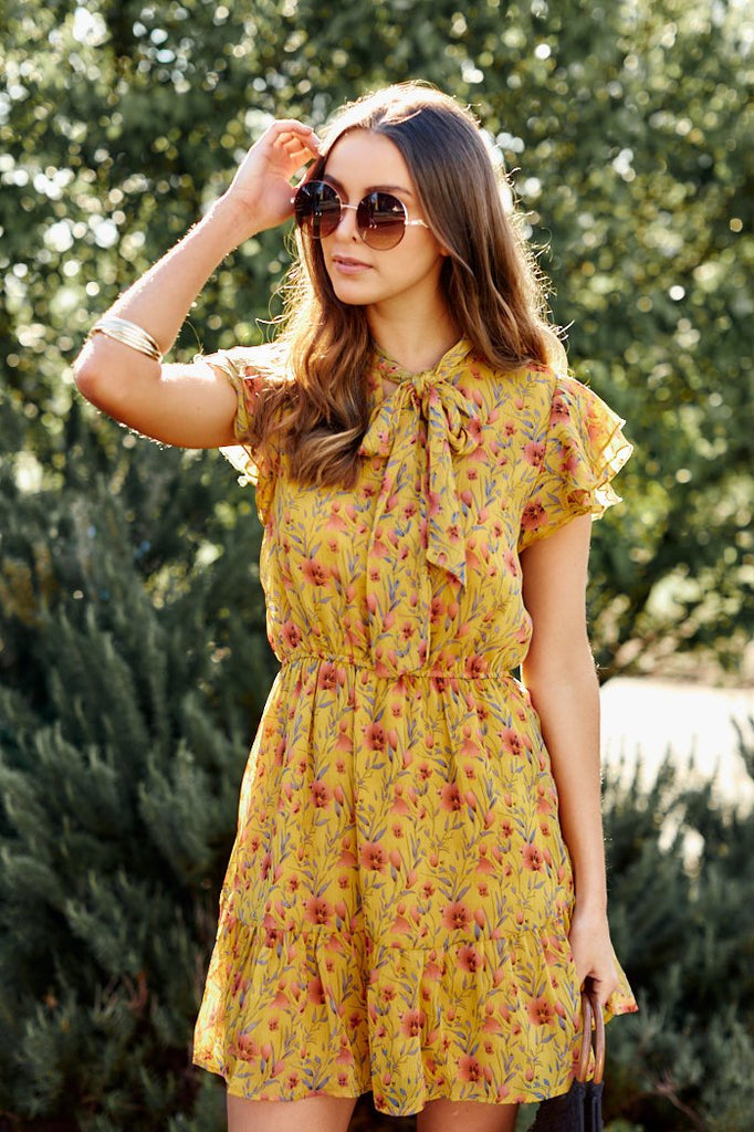 Honey Floral Tie Neck Ruffle Dress