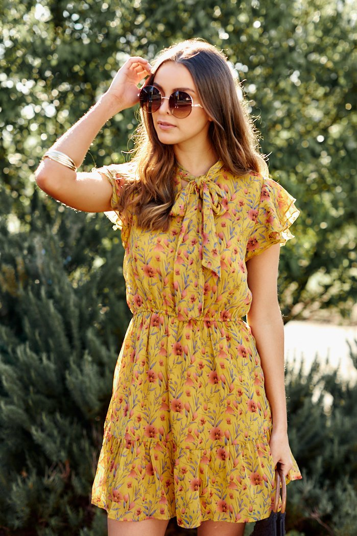 fab'rik - PreOrder Honey Floral Tie Neck Ruffle Dress ProductImage-7834575667258