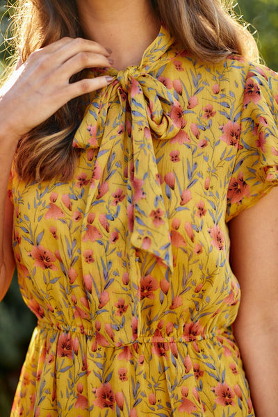 fab'rik - PreOrder Honey Floral Tie Neck Ruffle Dress image thumbnail