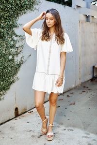 Kacie Ruffle Trim Embroidered Mini Dress