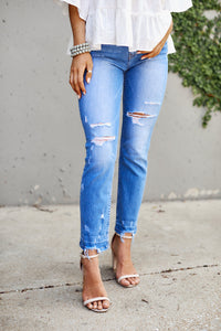 Mid Rise Distressed Straight Leg Denim