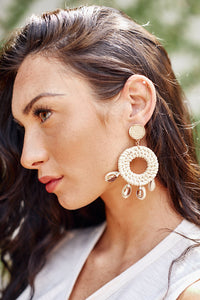 Shell & Rattan Circle Earrings