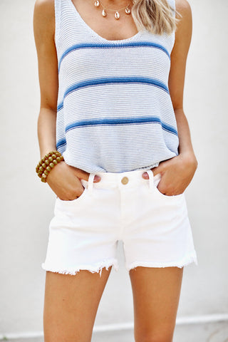 Blank NYC Great White Cut Off Shorts