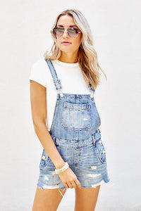 Blank NYC Distressed Short Overalls
