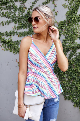 Maeve Peplum Stripe Top