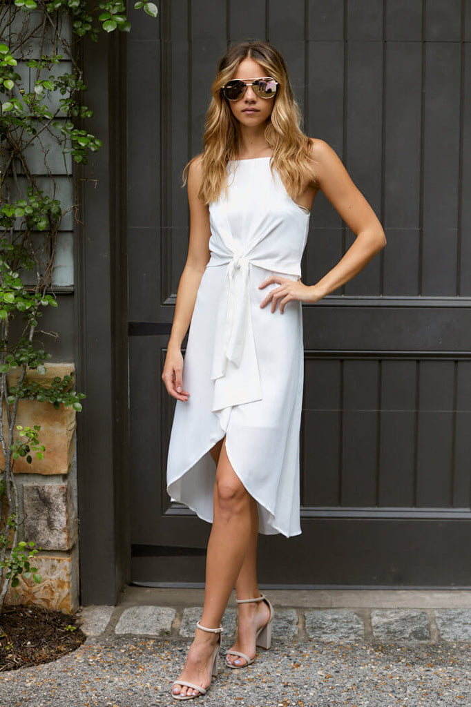 SALE - Rey Tie Front Midi Dress