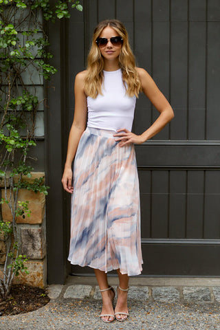 PreOrder Celia Pleated Tie Dye Midi Skirt
