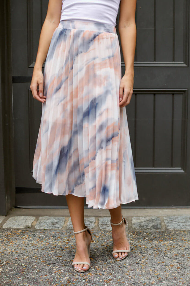 Celia Pleated Tie Dye Midi Skirt