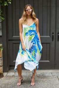 Amelia Palm Print Handkerchief Dress
