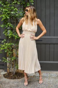 PreOrder Layla High Neck Pleated Midi Dress