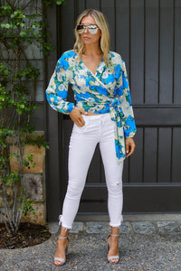 SALE - Mila Floral Printed Wrap Blouse