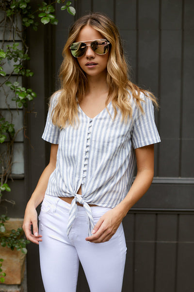 fab'rik - Claudia Front Tie Striped Top image thumbnail