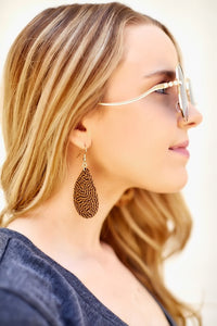 Pattern Cork Teardrop Earrings