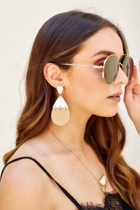 Twotone Leather Teardrop Link Earrings