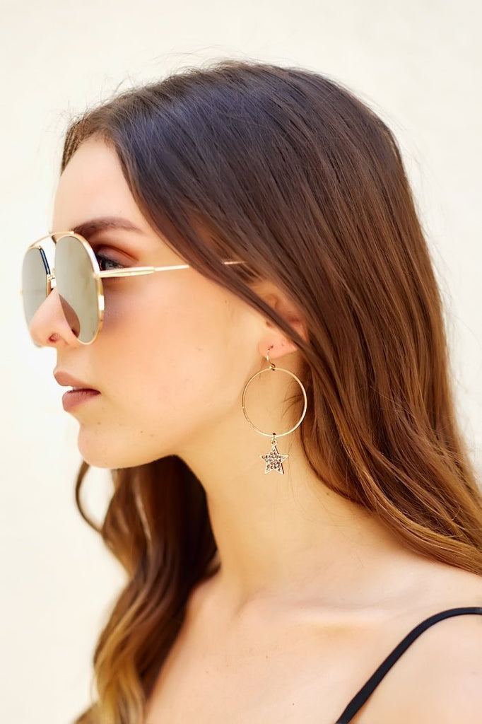 Pave Star Circle Earrings