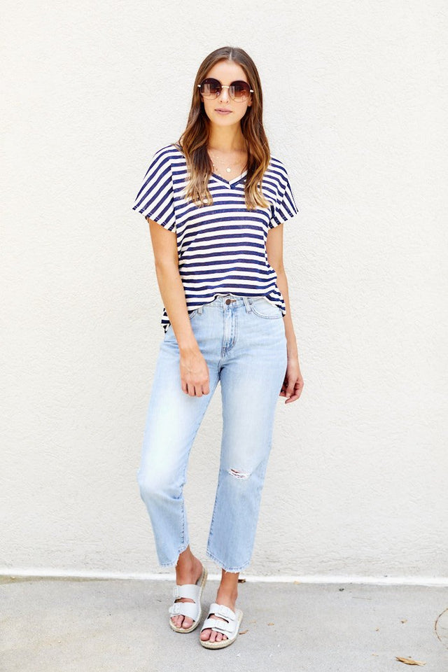 Lana Stripe V-Neck Tee