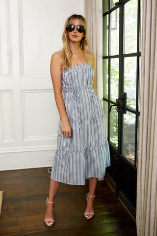 Charlie Stripe Tiered Midi Dress