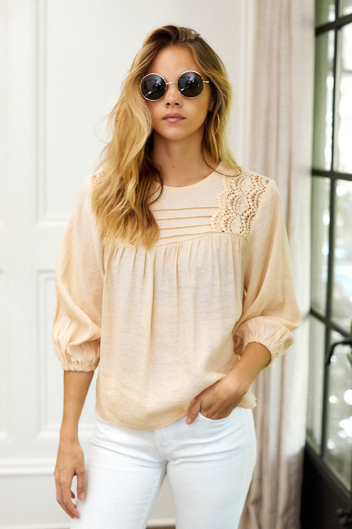 fab'rik - Remi Lace Detail Puff Sleeve Blouse ProductImage-13962282369082