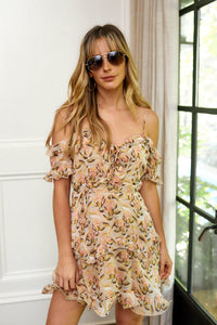 Garner Off Shoulder Floral Print Mini Dress
