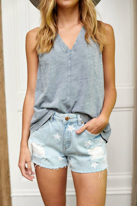 Tristan Star Print Denim Shorts