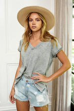 Load image into Gallery viewer, Avery Distressed V Neck Tee