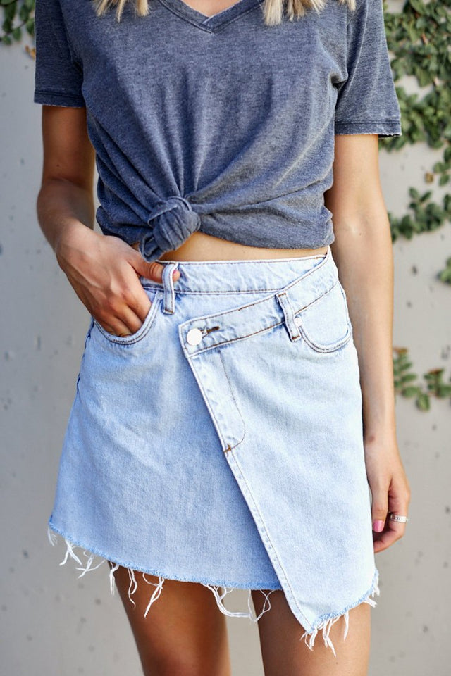 Blank NYC Acid Trip Asymmetrical Denim Skirt