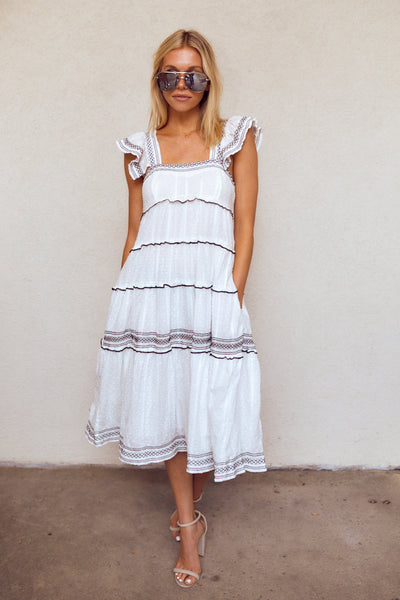 fab'rik - Moxy Short Sleeve Tiered Midi Dress image thumbnail