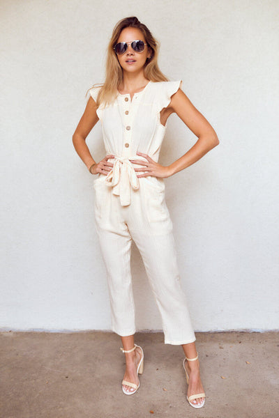 fab'rik - Myrtle Button Down Cropped Jumpsuit image thumbnail