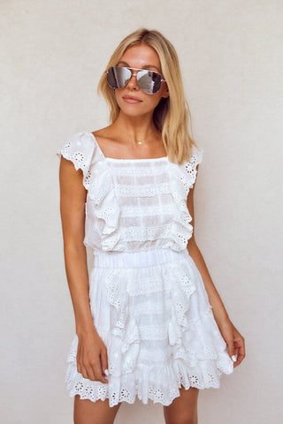 PreOrder Lovelyn Eyelet Ruffle Mini Dress