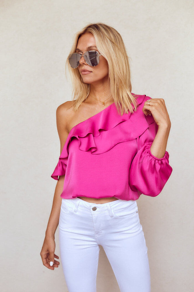 Bristol One Shoulder Ruffle Blouse