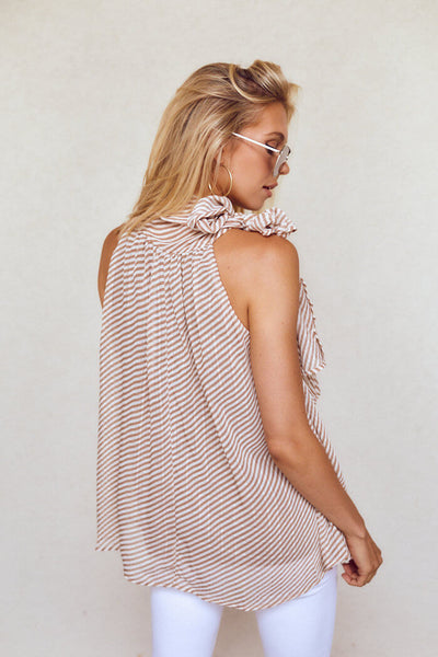fab'rik - Alisson Sleeveless Stripe Tie Neck Blouse image thumbnail