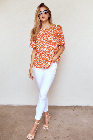 Kennedy Short Sleeve Printed Blouse