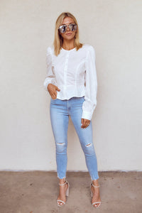 Bexley Puff Sleeve Button Down Blouse