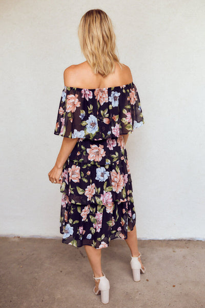 fab'rik - Eliza Tiered Floral Midi Dress image thumbnail
