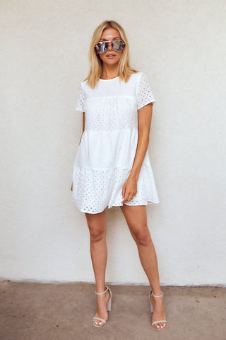 PreOrder Rose Eyelet Tiered Mini Dress