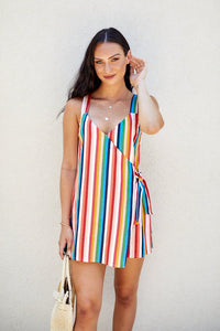 Kika Striped Wrap Romper