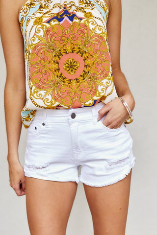 Mid Rise Distressed Cuffed Hem Shorts