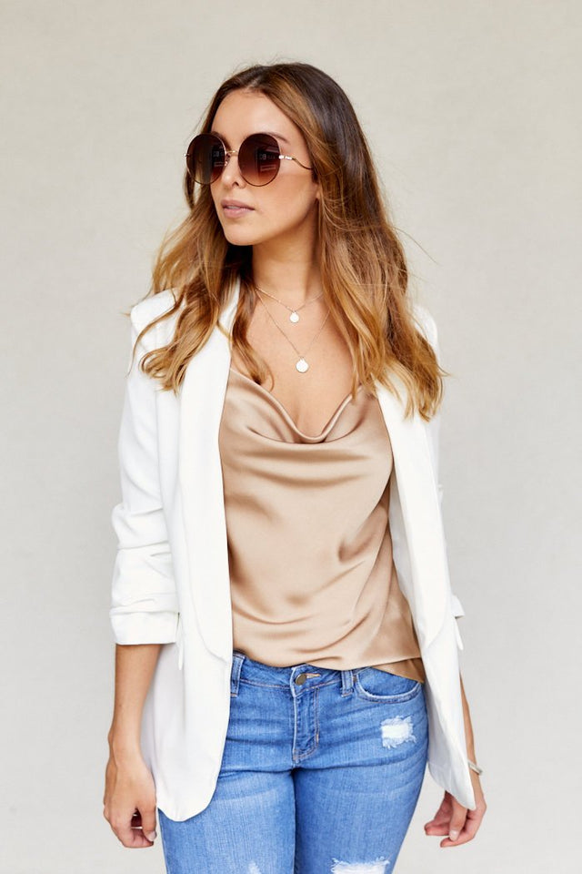 Agnes Rouched Sleeve Blazer