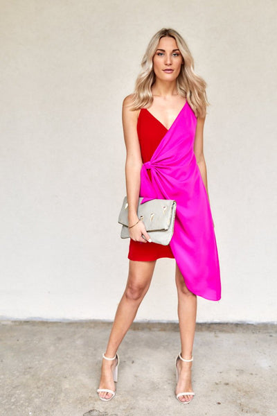 fab'rik - Rosabel Color Block Wrap Dress image thumbnail