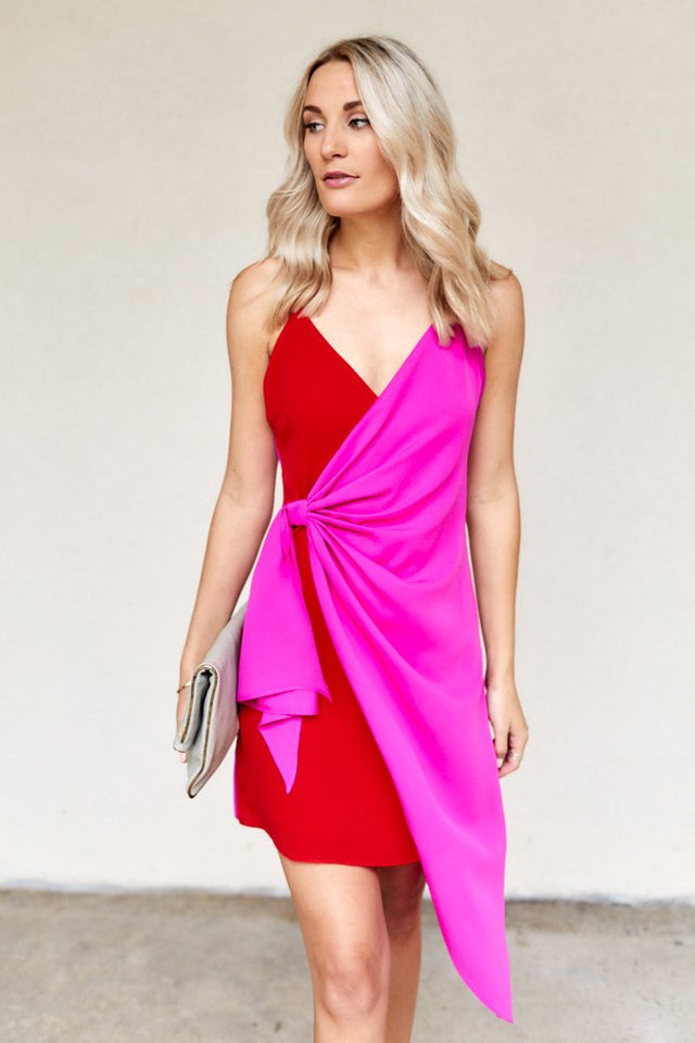 Rosabel Color Block Wrap Dress
