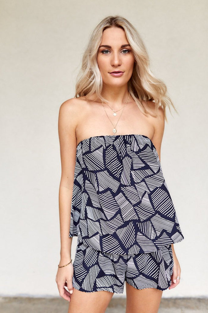 Leigh Printed Strapless Top