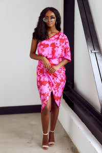 Veronica One Shoulder Floral Print Midi Dress