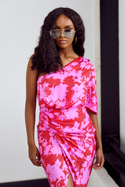 fab'rik - Veronica One Shoulder Floral Print Midi Dress image thumbnail