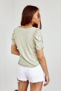 Caroline V Neck Ruched Short Sleeve